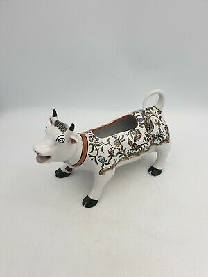 Vintage Art Pottery Portugal Cow Bull Shaped Milk Pouring Jug Hand Painted Flora • 19.99£