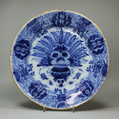 Dutch Delft Blue And White Plate, Mid 18th Century • 250£