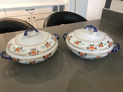 Antique Corona Ware Hancocks Pottery Tokyo Design Pair Of Lidded Serving Dishes • 30£