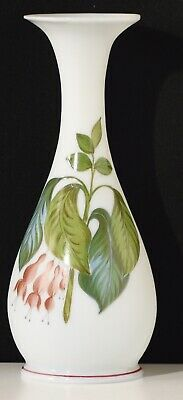 Hand Painted Victorian Opalescent Glass Stem Vase Floral  Design To Front Floral • 25£