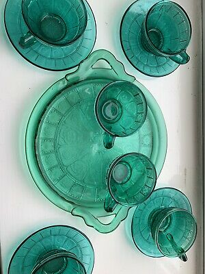 Jeannette Depression Glass DORIC AND PANSY Teal Blue ULTRAMARINE Cup&saucer,Tray • 55£