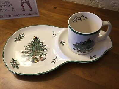 Spode Christmas Tree Sandwich Plate And Mug Cup Excellent Condition • 17.50£