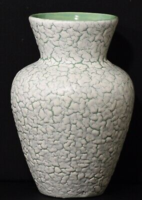 Green With White Cracked Glaze Design Small Pottery Flower Vase • 10£