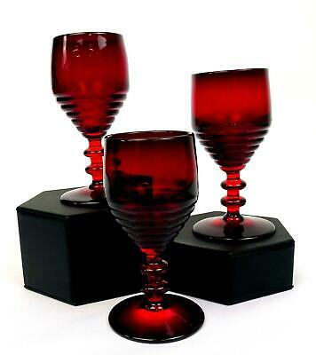 Paden City Glass #991 3 Pc Ruby Red Penny Line 4 1/4  Wine Glasses 1931-1951 • 36.78£