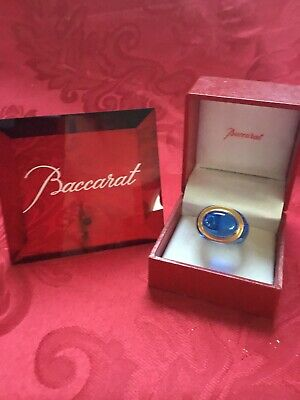 MIB FLAWLESS Stunning BACCARAT France Art Crystal MEDICIS Blue Gold RING Size 7 • 173.10£