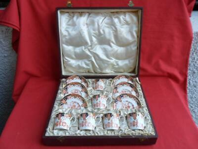 Royal Crown Derby, Antique IMARI Design 6 X Cased Coffee Cups & Saucers • 275£