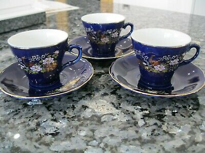 3x Vintage Japanese Cobalt Blue Royal Tea Cups & Saucers Japanese Gold Peacocks • 10£