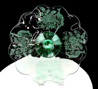 Paden City Peacock Wild Rose Etched Green Vaseline Glass 11 3/8  Footed Platter • 70.75£