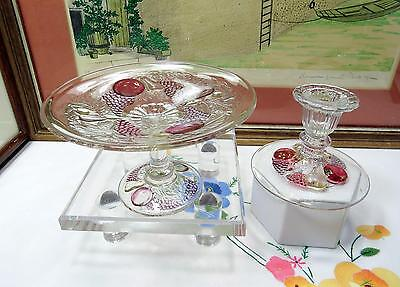 2 Pc Westmoreland Della Robbia Dark Flashed 3 3/4  Mint Compote & Candlestick • 22.02£