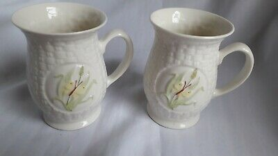 Pair Of  BELLEEK Irish China Mugs - Excellent Condition - 11.5cm • 20£