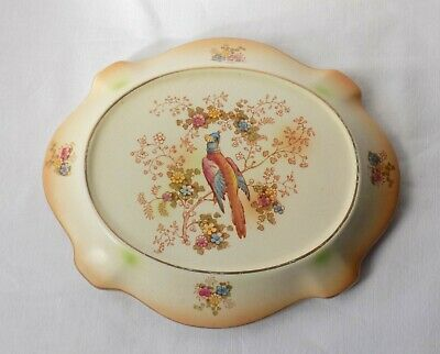 Antique Crown Ducal Pottery Teapot Stand, Decorative Exotic Bird, Floral. • 14.99£