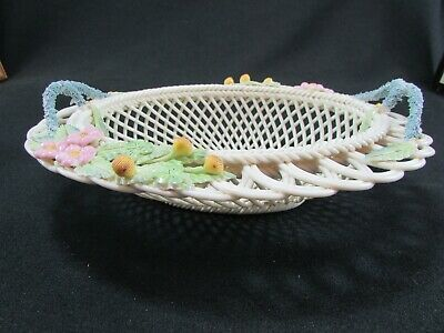 Belleek Floral Encrusted & Decorated Henshall Oval Basket C.1999 • 90£
