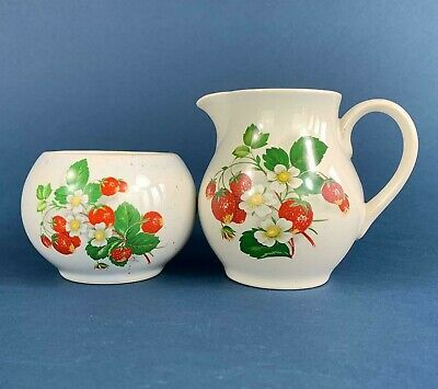 Holkham Pottery Milk / Cream Jug & Sugar Bowl 'Wild Strawberry'  - Excellent Con • 6.50£