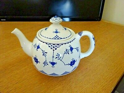 Furnivals Denmark Blue Large Teapot Good Condition But Chipped Under Lid Knob • 19.99£