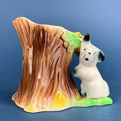 Withernsea Eastgate Pottery Terrier Dog And Tree Vase • 7.50£
