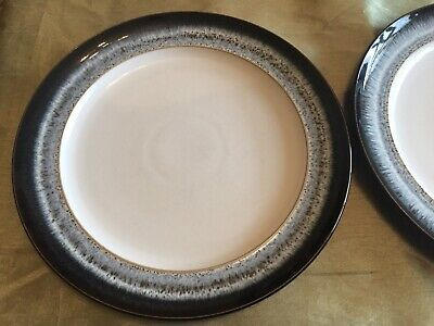 DENBY HALO 2 X LARGE BLACK SPECKLED DINNER PLATES 28CM Great Condition • 18£