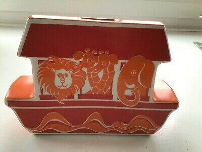 Vintage Retro Carlton Ware Money Box Bank Noah's Ark Orange • 45£