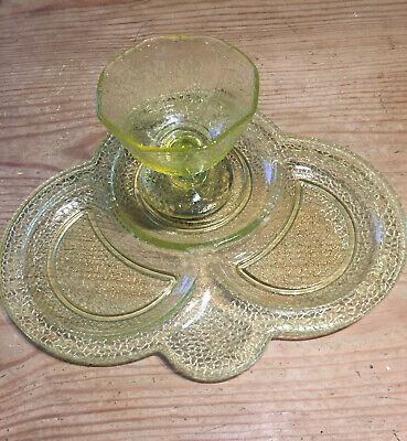 Depression Glass - LE Smith Yellow Crackle Sherbet And Snack Tray - Set Of 12 • 125£