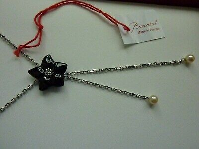 Beautiful  Baccarat Onyx Pearls Blossom Flower Solid Silver Necklace • 89£