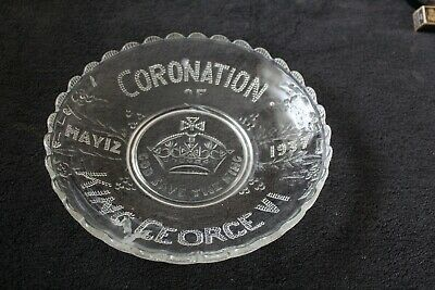 Pressed Glass Coronation Plate  May 12th 1937  King Geore V1 • 1.50£