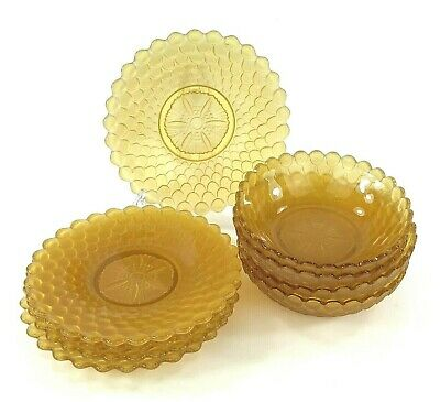 Vintage Set Of 4 Bowls & 5 Plates In Amber / Yellow Pressed Glass • 12.50£