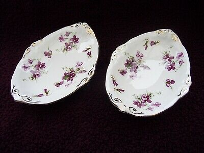 Hammersley Victorian Violets Pair Of Oval Pin Dishes. • 19.99£