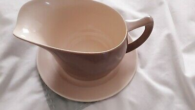 Branksome Pottery Two Tone Sauce/Gravy Boat On Tray-  Brown/ Cream  • 17.50£