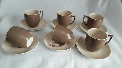 Branksome China 6 X  Cups & Saucers  Art Deco Style 1950's Cream & Brown - VGC • 14£