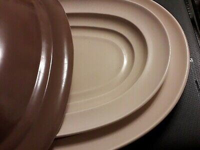 Branksome China Oval Serving Platters/Dish -  3 Pieces - Cream/Brown-Large 36cm • 22£