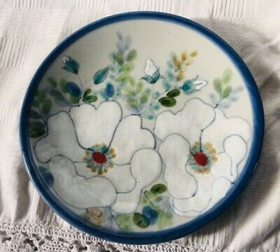 Highland Stoneware Floral Plate With Blue Edge, 19.5cm • 18.99£