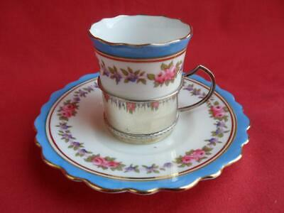 Aynsley Antique Art Nouveau Coffee Cup In Silver Holder & Saucer • 45£