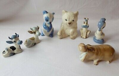 7 Vintage Szeiler Pottery Animals. Two Cows, Hippo, Two Bears, Duck & Dog. • 24.99£