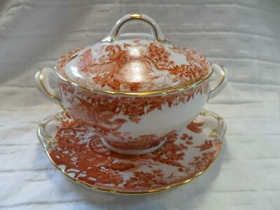 Royal Crown Derby, Red Aves, Sauce Tureen & Underplate/Stand • 145£