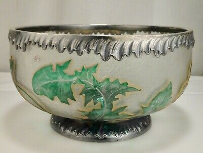 Daum Cameo Etched Glass & Sterling Silver Dandelion Bowl  -  59226 • 692.18£