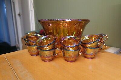 Amazing Large Carnival Glass Punch Bowl + 12 Cups - Mint - Unused? - Look  • 32.99£