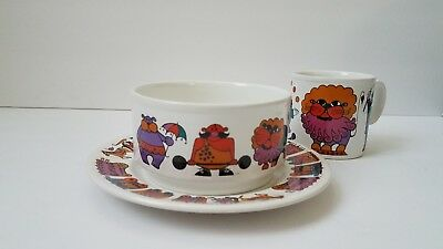 Staffordshire Pottery Circus Child Set Cup Bowl Plate • 25.66£