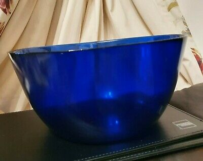 Vintage Large Colbolt Blue Fruit Or Centrepiece Bowl • 16£