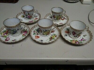 Dresden Porcelain China, Floral Hand Painted, 5 X Coffee Cups And Saucers • 75£