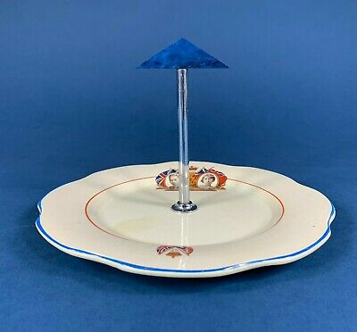 King George VI Queen Elizabeth 1937 Coronation Cake Stand With Handle • 8.50£