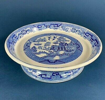 Blue & White Willow Pattern Comport, Cake Stand Or Cheese Dish • 28.50£