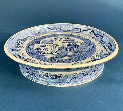 Large Blue & White Willow Pattern Comport, Cake Stand Or Cheese Dish - 11   • 38.50£