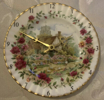 Vintage Royal Albert Old Country Rose Cottage Bone China Wall Plate Clock 1988 • 12£