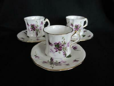 Hammersley Victorian Violets Pattern 3 X Coffee Cups & Saucers • 35£