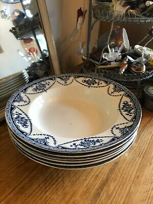 Antique Universal 6 Blue & White 10 Inch Soup Plates  Floral Lovely Shabby Chic • 17.50£