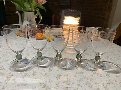 Wedgewood Large Green Stem Wine Glass Set Of 5 • 25£