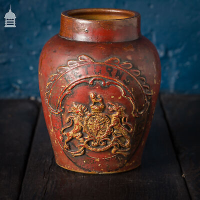 Small Victorian Red Painted Shop Tobacco Jar With Royal Crest Marked 'Returns' • 300£