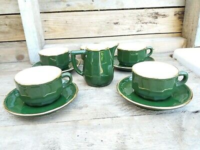 Apilco Bistro French Green And Gold Coffee Cups & Saucers X4 Milk And Sugar Bowl • 10.45£