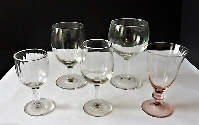 5 X Vintage Mixed wine / Sherry Glasses • 2.99£