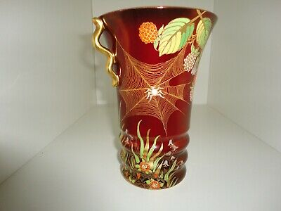 CARLTON WARE ROUGE ROYALE   SPIDERS WEB  Twin Handled VASE  • 38£