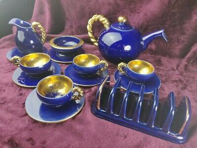 Vintage French 50s Vallauris Cérenne Cobalt & Gold Coffee Service & Toastrack  • 9.99£